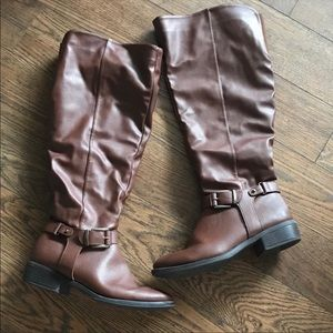 Apt. 9 Slouch Shaft Congac Riding Boots Wide Width